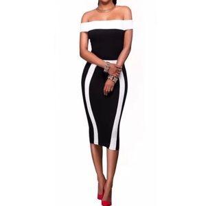 Dresses & Skirts - Black Bodycon White Slash Neck Off Shoulder Dress